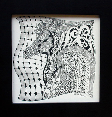 "Zentangle inspired ""Two Horses"" ink drawing on acid free paper."