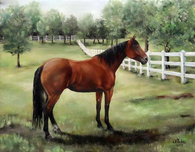 2015 - Boots - Original 11x14 oil - Quarter Horse mare owned by Susan Cassem