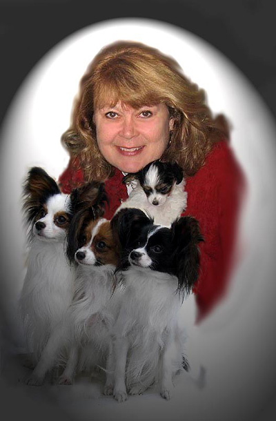 "Photo : Me with the last puppy, Nanstar Rainbow's End - ""Kody"", Ch. Nanstar Sesar - ""Sesar"" ( on left ), Nanstar Rainbow Ribbons - ""Ribbons"" ( middle ) and Nanstar Just A Minute - ""Myah"" ( right ) ( 2006 GCPC Puppy Sweeps Winner ) - Click to go back to the main page. !"